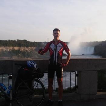 Tomaž with his bike and falls